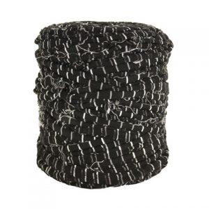 Trapilho XL rayé noir et gris effiloché - Bobine, pelote de t-shirt yarn, Hooked, zpagetti, trapillo. Fil de tissu recyclé pour crochet