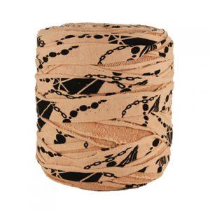 Trapilho XL noir sur saumon- Bobine, pelote de t-shirt yarn, Hooked, zpagetti, trapillo. Fil de tissu recyclé pour crochet
