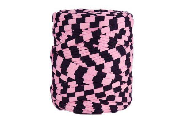 Trapilho XL rose et aubergine- Bobine, pelote de t-shirt yarn, Hooked, zpagetti, trapillo. Fil de tissu recyclé pour crochet