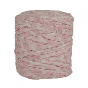 Trapilho XL imprimé fleuri rose et blanc - Bobine, pelote de t-shirt yarn, Hooked, zpagetti, trapillo. Fil de tissu recyclé pour crochet