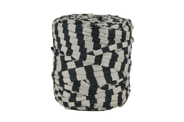 Trapilho XL rayé gris - Bobine, pelote de t-shirt yarn, Hoocked, zpagetti, trapillo. Fil de tissu recyclé pour crochet