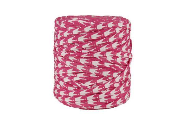 Trapilho XL rose et blanc - Bobine, pelote de t-shirt yarn, Hoocked, zpagetti, trapillo. Fil de tissu recyclé pour crochet