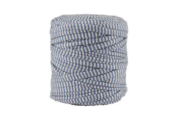 Trapilho XL rayé bleu et gris- Bobine, pelote de t-shirt yarn, Hooked, zpagetti, trapillo. Fil de tissu recyclé pour crochet et tricot