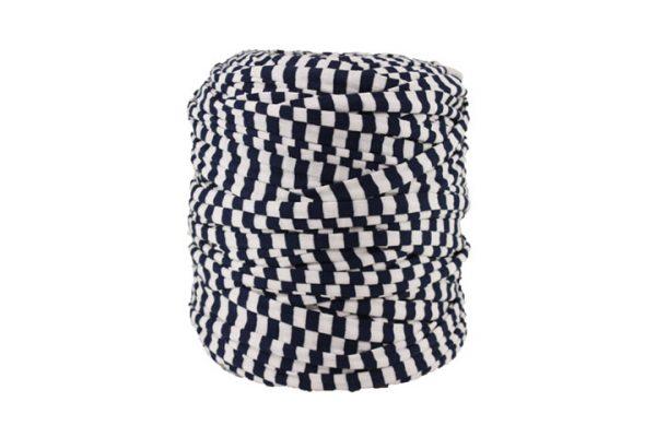 Trapilho XL bleu marine et blanc - Bobine, pelote de t-shirt yarn, Hooked, zpagetti, trapillo. Fil de tissu recyclé pour crochet et tricot