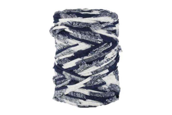 Trapilho M bleu marine et blanc cassé - Bobine, pelote de t-shirt yarn, Hooked, zpagetti, trapillo. Fil de tissu recyclé pour crochet et tricot