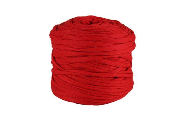 Trapilho léger rouge cerise - Bobine, pelote de t-shirt yarn, Hooked, zpagetti, trapillo. Fil de tissu recyclé pour crochet et tricot