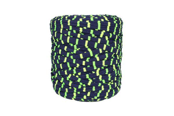 Trapilho rayé vert fluo et marine - Bobine, pelote de t-shirt yarn, Hooked, zpagetti, trapillo. Fil de tissu recyclé pour crochet et tricot