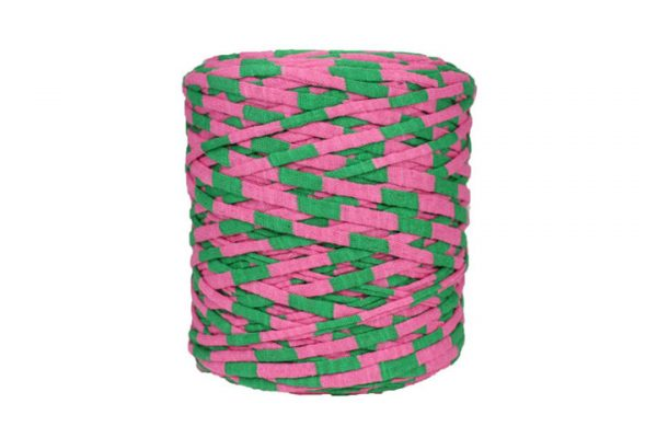 Trapilho rayé rose et vert - Bobine, pelote de t-shirt yarn, Hooked, zpagetti, trapillo. Fil de tissu recyclé pour crochet et tricot