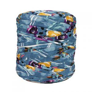 Trapilho imprimé sur bleu - Bobine, pelote de t-shirt yarn, Hooked, zpagetti, trapillo. Fil de tissu recyclé pour crochet, tricot, tissage