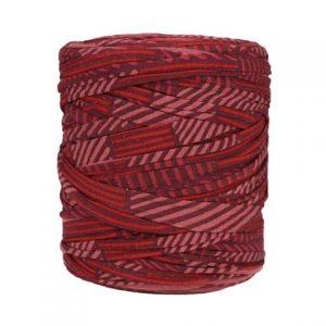 Trapilho imprimé rouge bordeaux - Bobine, pelote de t-shirt yarn, Hooked, zpagetti, trapillo. Fil de tissu recyclé pour crochet, tricot, tissage
