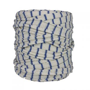 Trapilho blanc bleu - Bobine, pelote de t-shirt yarn, Hooked, zpagetti, trapillo. Fil de tissu recyclé pour crochet, tricot, tissage, macramé