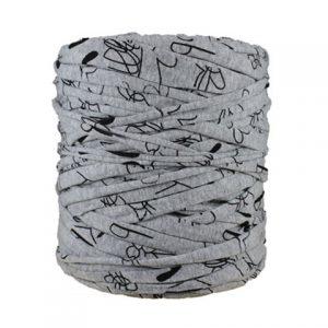 Trapilho imprimé gris noir - Bobine, pelote de t-shirt yarn, Hooked, zpagetti, trapillo. Fil de tissu recyclé pour crochet, tricot, tissage, macramé