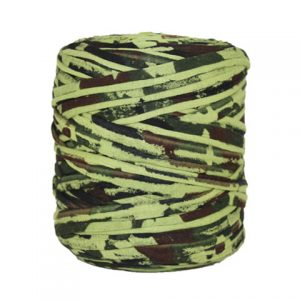 Trapilho camouflage - Bobine, pelote de t-shirt yarn, Hooked, zpagetti, trapillo. Fil de tissu recyclé pour crochet, tricot, tissage, macramé