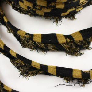 Trapilho au mètre ocre et noir - Bobine, pelote de t-shirt yarn, Hooked, zpagetti, trapillo. Fil de tissu recyclé pour crochet , bijoux, couture , décoration