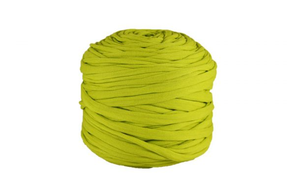 Trapilho léger vert chartreuse - Bobine, pelote de t-shirt yarn, Hooked, zpagetti, trapillo. Fil de tissu recyclé pour crochet et tricot