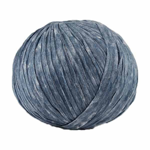 Trapilho paper bleu jean - Bobine, pelote de t-shirt yarn, Hooked, zpagetti, trapillo pour crochet et tricot. Fil de tissu recyclé souple et ultra léger pour sacs, pochettes, bijoux
