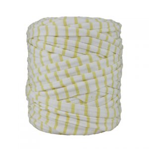 Trapilho rayé jaune blanc - Bobine, pelote de t-shirt yarn, Hooked, zpagetti, trapillo. Fil de tissu recyclé pour crochet, tricot, tissage, macramé