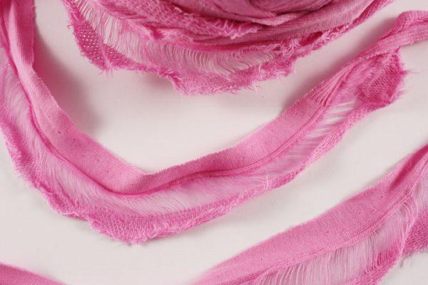 Trapilho au mètre rose - Bobine, pelote de t-shirt yarn, Hooked, zpagetti, trapillo. Fil de tissu recyclé pour crochet , bijoux, couture , décoration