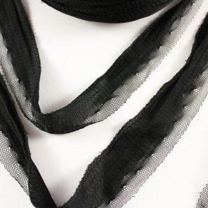 Trapilho au mètre tulle noir - Bobine, pelote de t-shirt yarn, Hooked, zpagetti, trapillo. Fil de tissu recyclé pour crochet , bijoux, couture , décoration