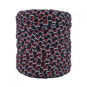 Trapilho imprimé marine rouge - Bobine, pelote de t-shirt yarn, Hooked, zpagetti, trapillo. Fil de tissu recyclé pour crochet, tricot, tissage, macramé
