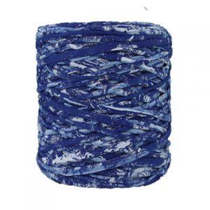 Trapilho imprimé bleu - Bobine, pelote de t-shirt yarn, Hooked, zpagetti, trapillo. Fil de tissu recyclé en jersey pour crochet, tricot, tissage, macramé