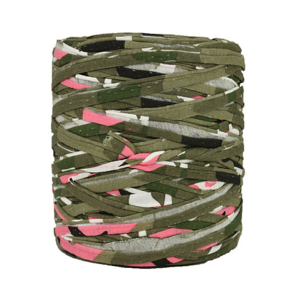 Trapilho kaki rose - Bobine, pelote de t-shirt yarn, Hooked, zpagetti, trapillo. Fil de tissu recyclé en jersey pour crochet, tricot, tissage, macramé, bijoux
