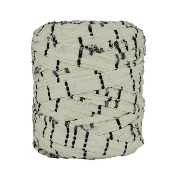 Trapilho rayé noir blanc cassé- Bobine, pelote de t-shirt yarn, Hooked, zpagetti, trapillo. Fil de tissu recyclé en jersey pour crochet, tricot, tissage, macramé, bijoux