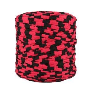 Trapilho rayé framboise noir - Bobine, pelote de t-shirt yarn, Hooked, zpagetti, trapillo. Fil de tissu recyclé en jersey pour crochet, tricot, tissage, macramé, bijoux
