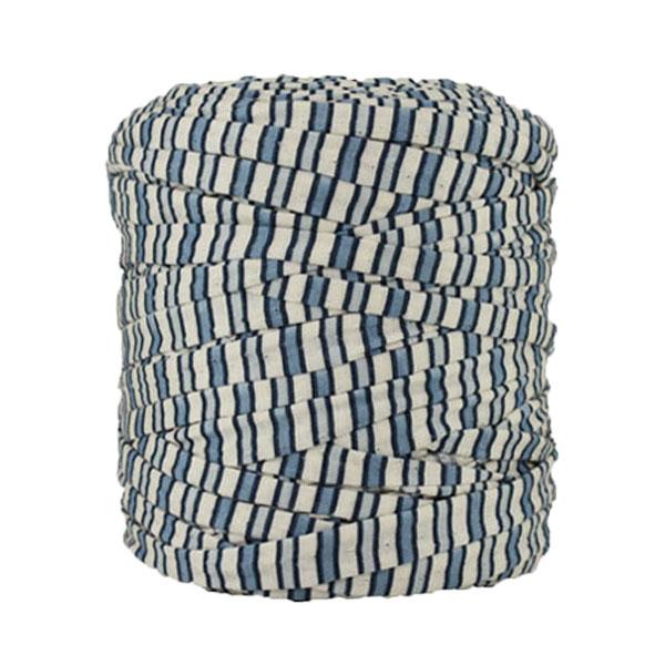 Trapilho rayé bleu blanc cassé - Bobine, pelote de t-shirt yarn, Hooked, zpagetti, trapillo. Fil de tissu recyclé en jersey pour crochet, tricot, tissage, macramé, bijoux