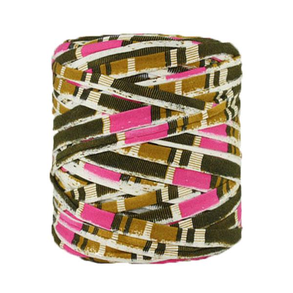 Trapilho imprimé rose marron ocre - Bobine, pelote de t-shirt yarn, Hooked, zpagetti, trapillo. Fil de tissu recyclé en jersey pour crochet, tricot, tissage, macramé, bijoux