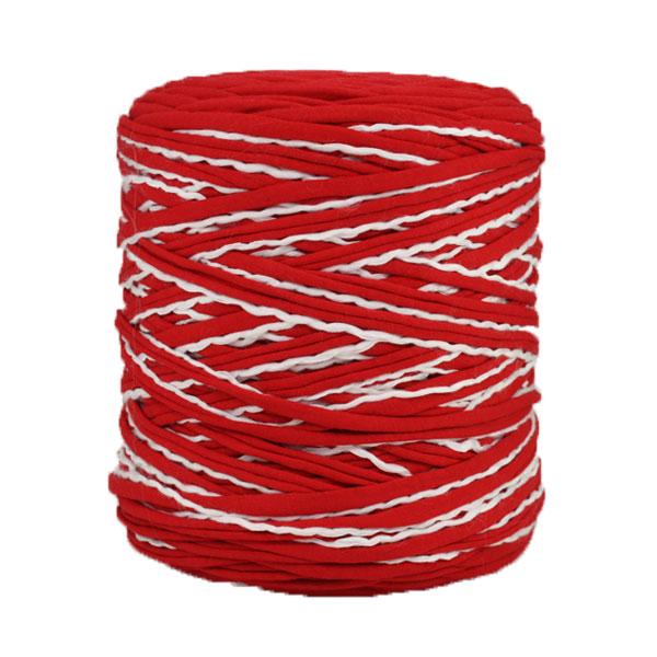 Trapilho rouge blanc - Bobine, pelote de t-shirt yarn, Hooked, zpagetti, trapillo. Fil de tissu recyclé en jersey pour crochet, tricot, tissage, macramé, bijoux
