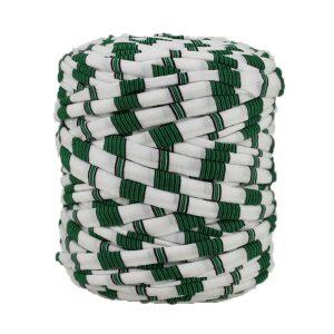 Trapilho rayé vert blanc - Bobine, pelote de t-shirt yarn, Hooked, zpagetti, trapillo. Fil de tissu recyclé en jersey pour crochet, tricot, tissage, macramé, bijoux
