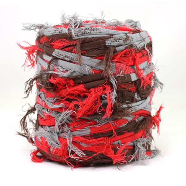Trapilho rouge gris marron - Bobine, pelote de t-shirt yarn, Hooked, zpagetti, trapillo. Fil de tissu recyclé en jersey pour crochet, tricot, tissage, macramé, bijoux