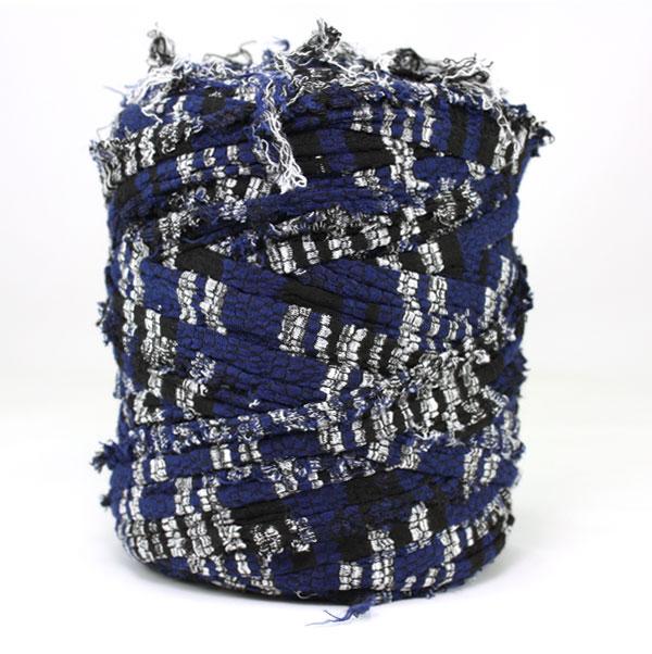 Trapilho bleu blanc - Bobine, pelote de t-shirt yarn, Hooked, zpagetti, trapillo. Fil de tissu recyclé en jersey pour crochet, tricot, tissage, macramé, bijoux