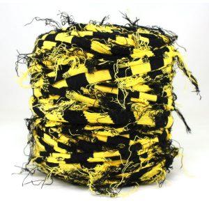 Trapilho rayé jaune noir - Bobine, pelote de t-shirt yarn, Hooked, zpagetti, trapillo. Fil de tissu recyclé en jersey pour crochet, tricot, tissage, macramé, bijoux