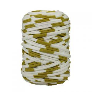 Trapilho-bobine-pelote-Rayé-blanc-or