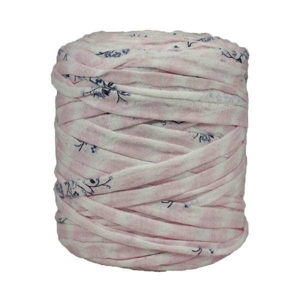 Trapilho-bobine-pelote-imprimé-fleuri-rose-blanc