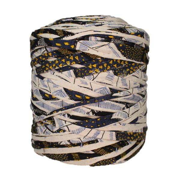 Trapilho-bobine-pelote-imprimé-marine-jaune-blanc