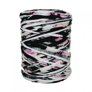 Trapilho-bobine-pelote-imprimé fleuri noir rose blanc